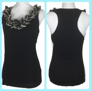 Body Central Large Embellished Neck Fitted Tank
